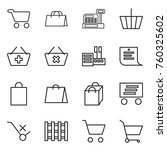 thin line icon set   cart ... | Shutterstock .eps vector #760325602
