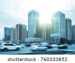 busy traffic in front of modern ... | Shutterstock . vector #760333852