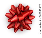 realistic red satin bow for... | Shutterstock .eps vector #760345975