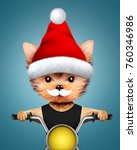 cute dogs santa claus on a... | Shutterstock . vector #760346986