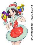 lovely girl in a snow maiden... | Shutterstock .eps vector #760356145