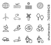 thin line icon set   globe  bio ... | Shutterstock .eps vector #760358428