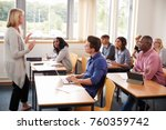 female tutor teaching class of... | Shutterstock . vector #760359742