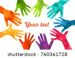 colorful up hands. vector... | Shutterstock .eps vector #760361728