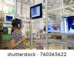 girl in   museum listening...   Shutterstock . vector #760365622