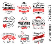Stock vector vintage valentines day vector banners for love greeting card retro valentine logo set 760368178