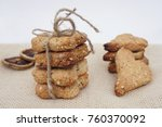 stack of cookies tied with a... | Shutterstock . vector #760370092