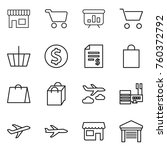 thin line icon set   shop  cart ... | Shutterstock .eps vector #760372792