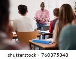 male college tutor with digital ... | Shutterstock . vector #760375348