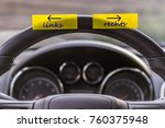 notepad on the steering wheel... | Shutterstock . vector #760375948