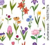 vector watercolor flower... | Shutterstock .eps vector #760379176