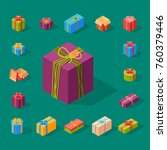 gift boxes pack composition... | Shutterstock .eps vector #760379446