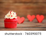 delicious red velvet cupcake on ... | Shutterstock . vector #760390075