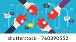 hands holding puzzle pieces and ... | Shutterstock .eps vector #760390552