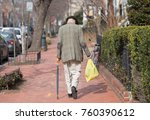 old man with cane on the walk ... | Shutterstock . vector #760390612