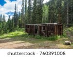 old abandoned boxcar high in... | Shutterstock . vector #760391008