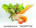 Vegetable Salad Bowl On White...