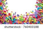 colorful toy bricks on white... | Shutterstock . vector #760403188