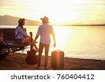 couple traveler playing guitar... | Shutterstock . vector #760404412