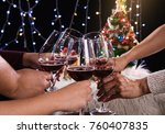 friends celebrating christmas... | Shutterstock . vector #760407835