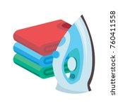 iron and linen vector. ironing...   Shutterstock .eps vector #760411558