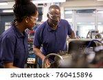 engineer showing female teenage ... | Shutterstock . vector #760415896