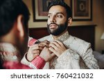 man helps bearded indian groom... | Shutterstock . vector #760421032