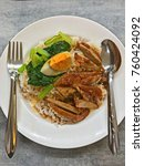 thai cuisine. roasted duck with ...   Shutterstock . vector #760424092