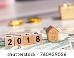 2018 new year cubes with the... | Shutterstock . vector #760429036