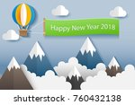 happy new year flag on the sky... | Shutterstock .eps vector #760432138