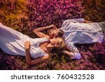 young wedding couple lies on... | Shutterstock . vector #760432528