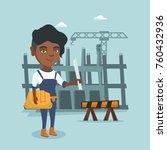 young african engineer standing ... | Shutterstock .eps vector #760432936