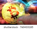 concept of golden bitcoins ... | Shutterstock . vector #760433185