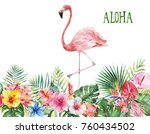watercolor tropical floral... | Shutterstock . vector #760434502
