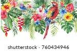 watercolor tropical floral... | Shutterstock . vector #760434946