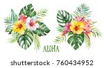 watercolor tropical floral... | Shutterstock . vector #760434952