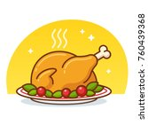 thanksgiving turkey or roast... | Shutterstock .eps vector #760439368