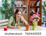 young girl drawing pictures at... | Shutterstock . vector #760443505