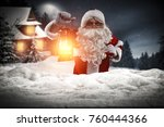 santa claus with lamp in hand... | Shutterstock . vector #760444366