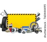vector car spares yellow frame... | Shutterstock .eps vector #760444495