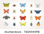 set of different insects in... | Shutterstock .eps vector #760444498
