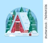 snowy scene with farm winter... | Shutterstock .eps vector #760464106