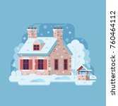 snowy scene with farm winter... | Shutterstock .eps vector #760464112