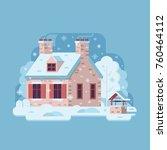 snowy scene with farm winter... | Shutterstock .eps vector #760464112