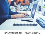male using computer laptop in... | Shutterstock . vector #760465042