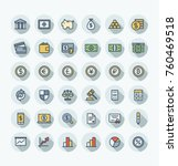 vector thin line icons set and... | Shutterstock .eps vector #760469518
