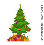 christmas tree decorated... | Shutterstock . vector #760476466