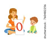 speech therapist doing... | Shutterstock .eps vector #760482256