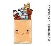 kawaii rectangular paper bag... | Shutterstock .eps vector #760483672