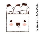 kawaii paper bag with drinks... | Shutterstock .eps vector #760483816